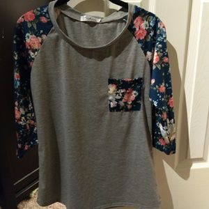 Grey baseball tee with floral blue sleeves